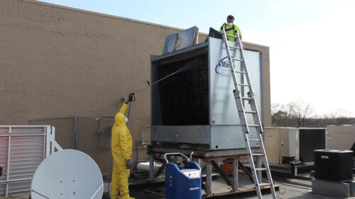 Cooling tower cleaning with Goodway tower cleaning equipment
